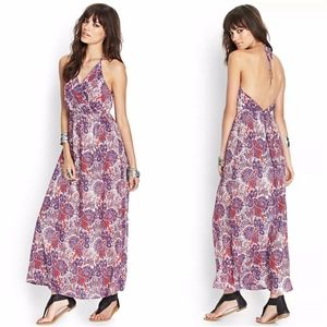 Forever 21 Purple Red Paisley Halter Maxi Dress